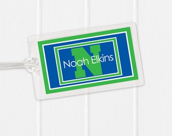 Boy Bag Tag - Blue and Green Sports Bag Tag - Diaper Bag Tag - Kids Bag Tag Luggage Tag
