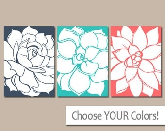 CORAL Turquoise Navy Wall Art, Matching Bedroom Pictures, CANVAS or Print, Bathroom Artwork, Succulent Flowers, Floral Dahlias, Set of 3