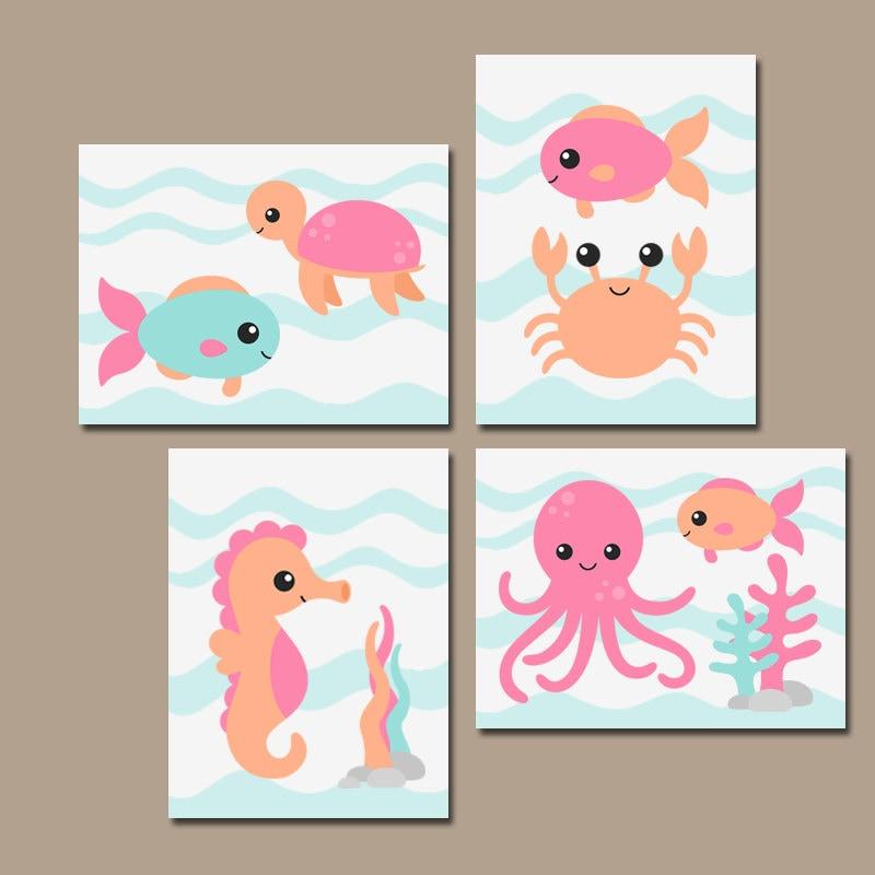 Ocean Wall Decor For Nursery : Girl ocean nursery wall art canvas or prints baby
