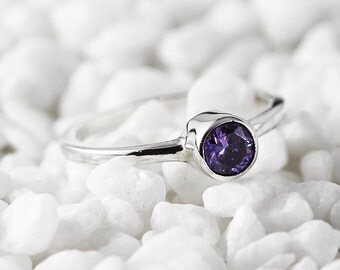 Purple Amethyst Engagement Ring 14k White Gold Personalize Birthstone Jewelry