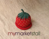 Strawberry Hat - 0-3 Months- Adult Sizes- Ready to Ship