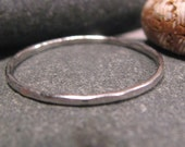 Hammered Platinum band 1mm skinny ring