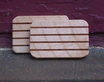 SALE--2 Handmade Natural Cedar Wood Soap Dishes---Animal Rescue--Free Shipping