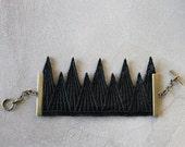 lace cuff bracelet  / TINY MOUNTAINS / black lace cuff / geometric bracelet / gift for women / modern bride jewelry