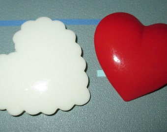 Only 5 Bucks.....Vintage FAB Red and White Plastic Lucite Heart Pin Pins LOT