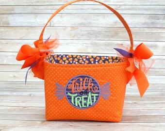 Halloween Trick or Treat bag basket bucket fabric Applique candy