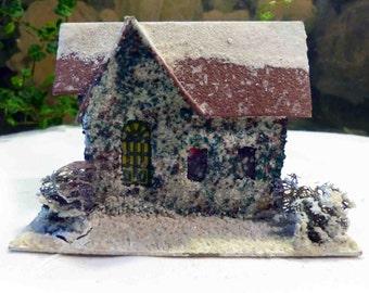 Vintage Cardboard Putz Glitter Snow Gabled House Japan Christmas Holiday