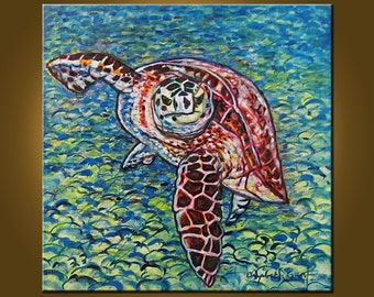 Sea Turtle Supreme -- 20 x 20 inch Original Oil Painting by Elizabeth Graf on Etsy -- Art Painting, Art & Collectibles