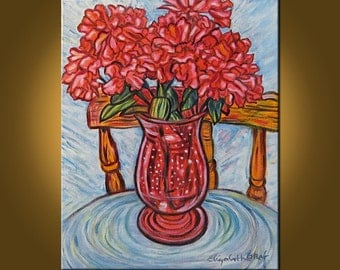 Red Vase -- Celebration of Red -- 16 x 20 inch Original Oil Painting by Elizabeth Graf on Etsy, Art Painting, Art & Collectibles