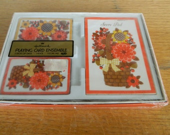 Vintage Hallmark Playing Card Ensemble 2 Decks of Cards-1 Score Pad