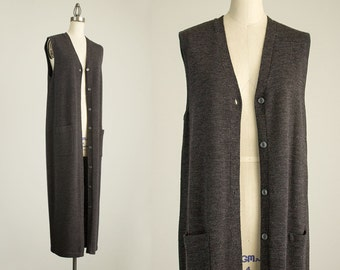 90s Vintage Charcoal Gray Knit Button Down Sweater Duster Vest Coat / Size Medium / Indie / Boho / Topper / Dress / Tunic / Grunge / 1990s