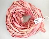 Sari silk Ribbon, Recycled Silk Sari Ribbon, Pink sari ribbon, Pastel pink ribbon, pink ribbon, pink silk ribbon, Weaving supply