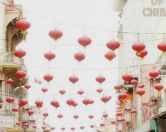 San Francisco wall art / red lanterns / chinatown / city urban art print / red white beige print / 8x10 11x14 print 'Fill the Sky'