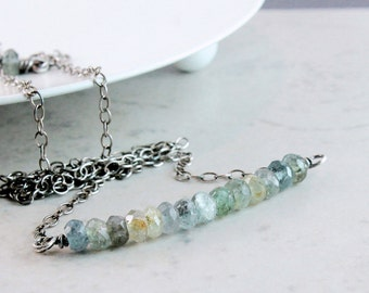 Moss Aquamarine Necklace   Oxidized Silver  March Birthstone Jewelry  Teal Gemstone Jewelry  Blue Gem  Row Necklace Stone Jewellery