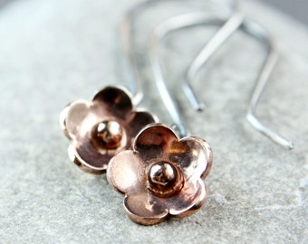 Flower Earrings Mixed Metal Jewelry Oxidized Silver Vermeil   Two Tone Earrings Rose Gold Gift For Her