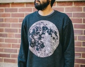 SALE MOON men's sweatshirt - unisex sweatshirt - men or women - heather black pullover - full moon print - astronomy sweatshirt for him
