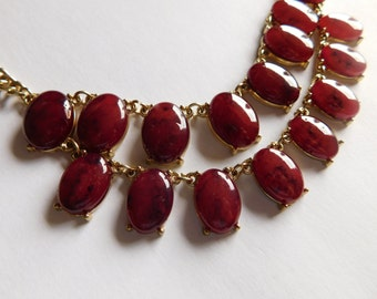 Vintage Bib Style Necklace Amber Glass Stones WOW