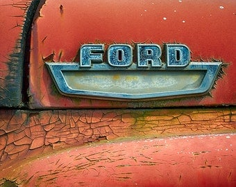 Antique Truck Photography, Vintage Ford Truck Emblem, Old Car Insignia, Antique Vehicle, Retro Rustic Art Print, Red - Ford Built Tough