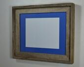 Picture frame 11x14 with blue mat for 8x10,8 1/2x11,8x12,7x9 or 9x12 from reclaimed wood