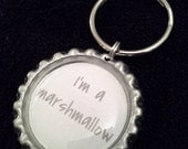 ONE 'I'm a marshmallow' Bottle Cap Charm Keychain