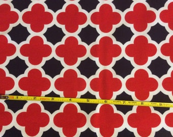 NEW Riley Blake Red White and Navy Quatrefoil cotton Lycra  knit fabric 1 yard