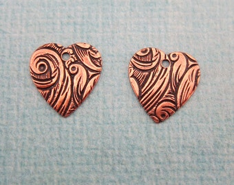 2 Copper Heart Tapestry Charms 701C