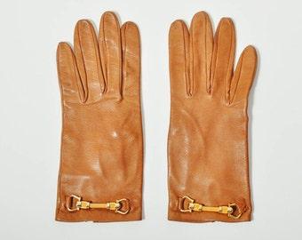 Vintage Ornamental Brown Leather Gloves