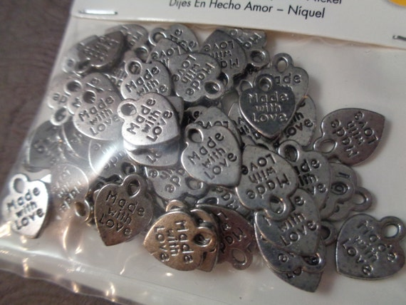Heart Charms Made With Love Lot of 225 Jewelry Making Tag Charm