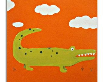 Jungle Animal Crocodile Painting /  Canvas / Children's Art / Kids / Nursery Decor