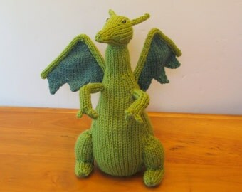 Baby Dragon Fiber Art Sculpture, Plush Dragon Stuffed Animal
