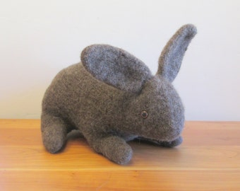 Easter Bunny Stuffed Animal, Easter Rabbit, Plush Bunny, Dark Brown . Handmade Stuffed Animals by FeltedFriends