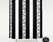 Tim Burton Style Shower Curtain - Goth Style Bathroom Decor  - Original Design- Stripes and Swirls - Dark Decor
