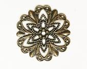 Antique brass filigree flower focal 20mm, antique bronze filigree connector