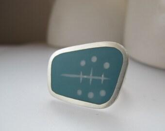 Aqua Blue Statement Ring - Modern Silver & Resin Ring - Atomic  Ring - Graphico Landscape Ring