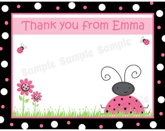 20 Personalized Ladybug Thank You Cards   -  Ladybug Birthday Party - Outdoor Party - Pink Ladybug