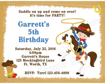 20 Personalized Birthday Invitations  -  Cowboy Birthday - Western Birthday - Cowboy Invitations - Wild West Party
