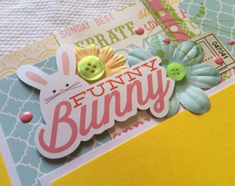 Funny Bunny Easter scrapbook pages , Easter scrapbook layout