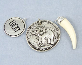 Elephant Pendant Charm Set Lucky Elephant Tusk Horn Antique Silver Jewelry Supplies |WH3-7|3 piece set