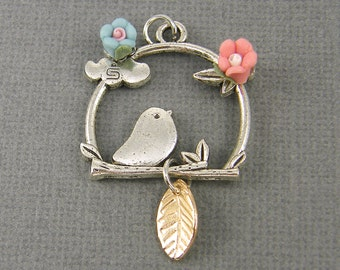 Silver Bird Pendant, Bird on Branch Pendant, Bird Flower Pendant Gold Leaf Charm Bird Porcelain Flower Pendant |S22-14|11