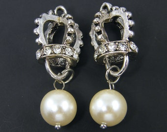 Crown Charm Pendant Earring Findings Antique Silver with Rhinestone and Pearl Drop |S24-1|2