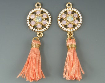 Peach Earring Findings Tassel Gold Frame Coral Fringe White and Coral Bead Jewelry Component |O1-7|2