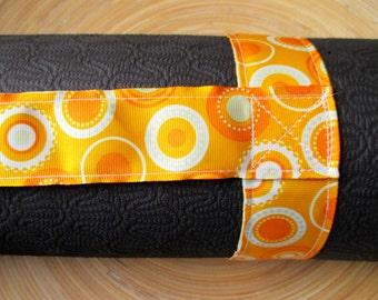 Orange sunburst yoga mat carry strap sling (not a bag) orange yellow circles pattern