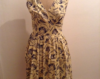Cotton dress size 8 S classic design inspired by the 1940s-1950s teapot british brand 40s 50s pin up