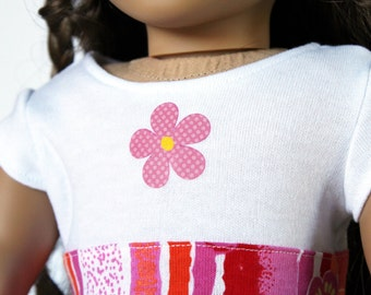 Doll Clothes fits American Girl Doll - T-shirt Dress in Pink Flower Stripe