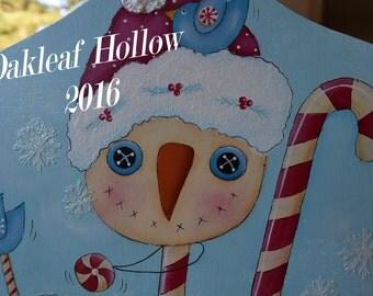 Snowman Candy Cane Handpainted Primitive Whimsical Folk Art Breadboard Deb Antonick design