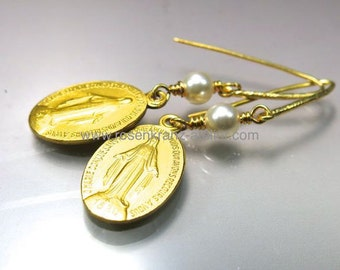 Earrings vintage Miraculous Medal goldplated medal