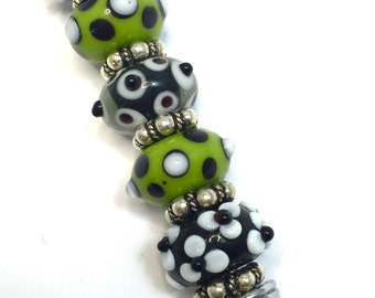 Gorgeous Stainless Steel Bracelet Helper  Bracelet  Buddy with Beautiful Lampwork  Lamp Work Glass Beads Black White  Green