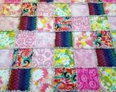"Hippie Rag Quilt Blanket Hippie Peace Signs Tie Dyed Flower Power 76"" X 76  Adult Teen Girl Toddler Gift Blanket"