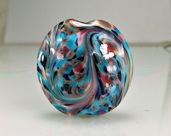 White Blue Pink Lampwork Focal Bead SRA Glass Beads
