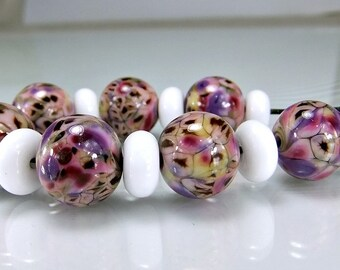 Glass Lampwork Bead Set  Pink  Purple Brown SRA Lampwork